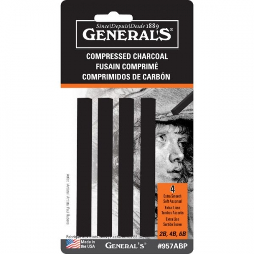 GENERAL'S COMPRESSED CHARCOAL STICKS black