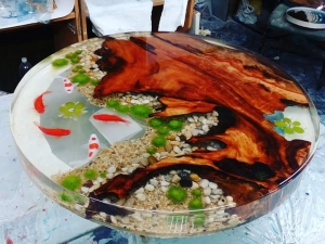 river table with MAD resin
